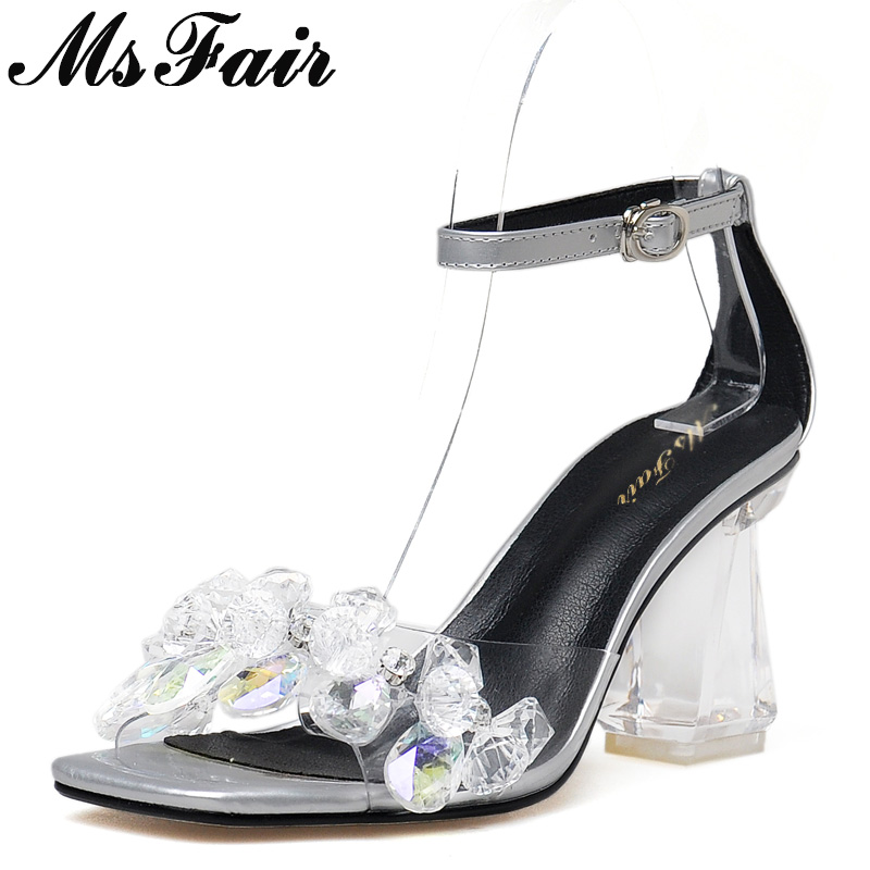 MsFair Square Toe Open Toed Women Sandals Fashion Square heel High Heels Ladies Sandals Crystal Buckle Women High Heel Sandals msstor round toe open toed women sandals fashion crystal high heels women sandals new summer wedges high heel sandal woman shoes