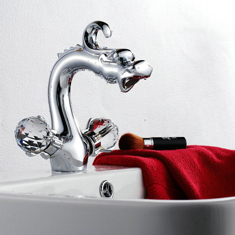 Retro Polished Chromed Chinese Dragon Faucet Bathroom Basin sink Mixer Tap Noble Gorgeous G28 цена и фото