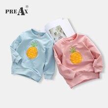 Nova Primavera 2018 Crianças Meninas Do Bebê T Camisa Abacaxi Bordado  Camisola Roupas de Algodão de 41aead5355d96