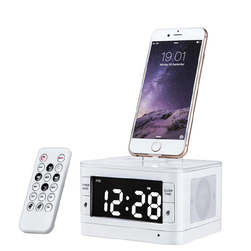 Brand LCD Digital FM Radio Alarm Clock Music Dock Charger Station Bluetooth Stereo Speaker for iPhone 5 5s for Iphone6 6s rd 310 1 3 lcd hand cranked dynamo 5 led flashlight w alarm function fm radio white grey