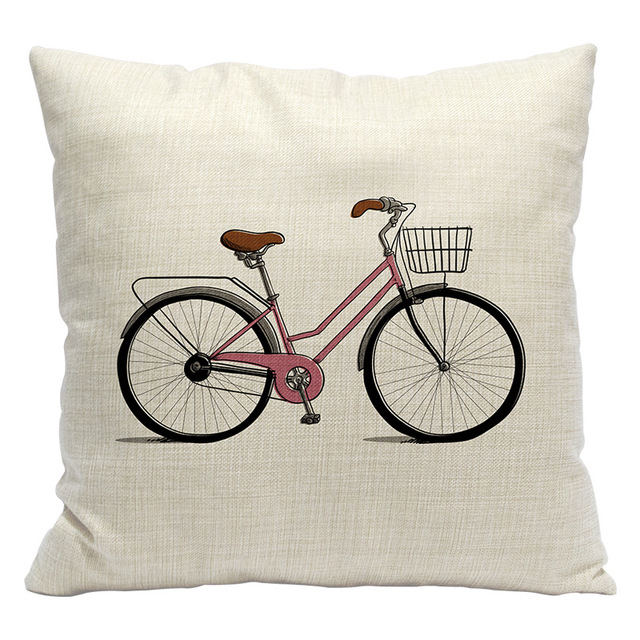 Retro Bicycle Patterned Cushion Cover