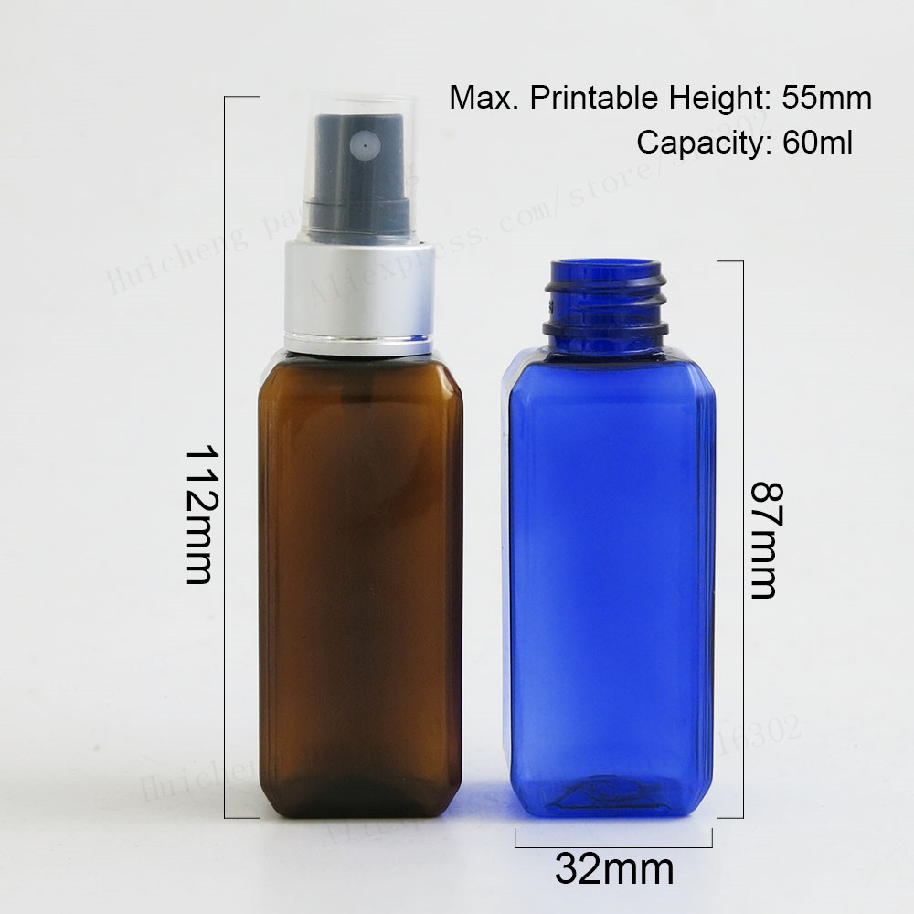 3ml Blue Glass Bottle With Silver Mist Atomizer /& Caps 12
