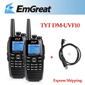 2 X Nível Profissional Walkie Talkie TYT Rádio VHF 256CH/UHF136-174 + 400-470 MHz DTMF DM-UVF10 DPMR presunto Baofeng + Cabo USB Programa