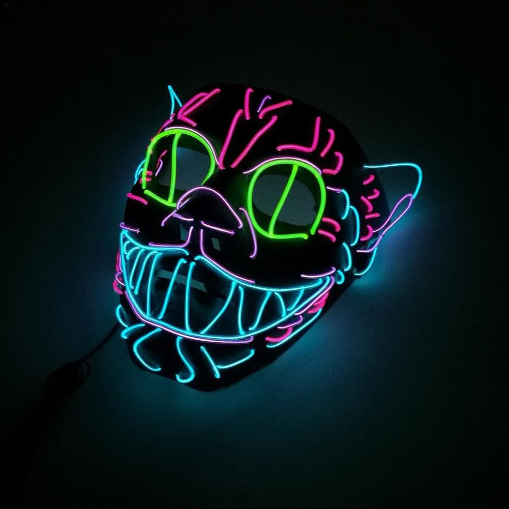 EL alambre máscara intermitente Cosplay LED brillante gato máscara disfraz máscara anónima para brillantes máscaras de baile decoración de Halloween