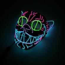 EL wire Mask Flashing Cosplay LED Glowing Cat mask Costume Anonymous Mask for Glowing dance Masks Halloween decoration