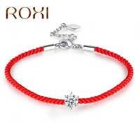 Pulseras de cristal redondo austriaco ROXI para mujer, pulseras de cuerda de hilo rojo, pulseras de moda para mujer, pulseras de joyería boho para mujer