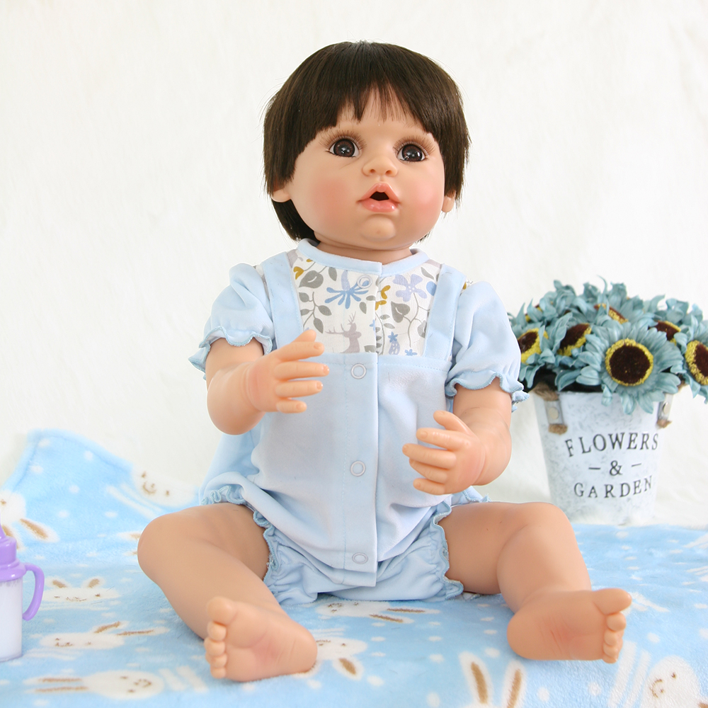 Handmade Open Mouth Full Body Silicone Reborn Baby Boy Doll Toys Washable Reborn Baby Alive Dolls for Children Girls Boys Gifts new arrival washable full body silicone reborn baby girl dolls toys for children girl boy birthday gifts plush dark doll toys
