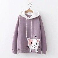Для женщин мультфильм кошка толстовки Мори обувь для девочек осень зима японский стиль kawaii с длинным рукавом Розовый Синий Фиолетовый Пуло