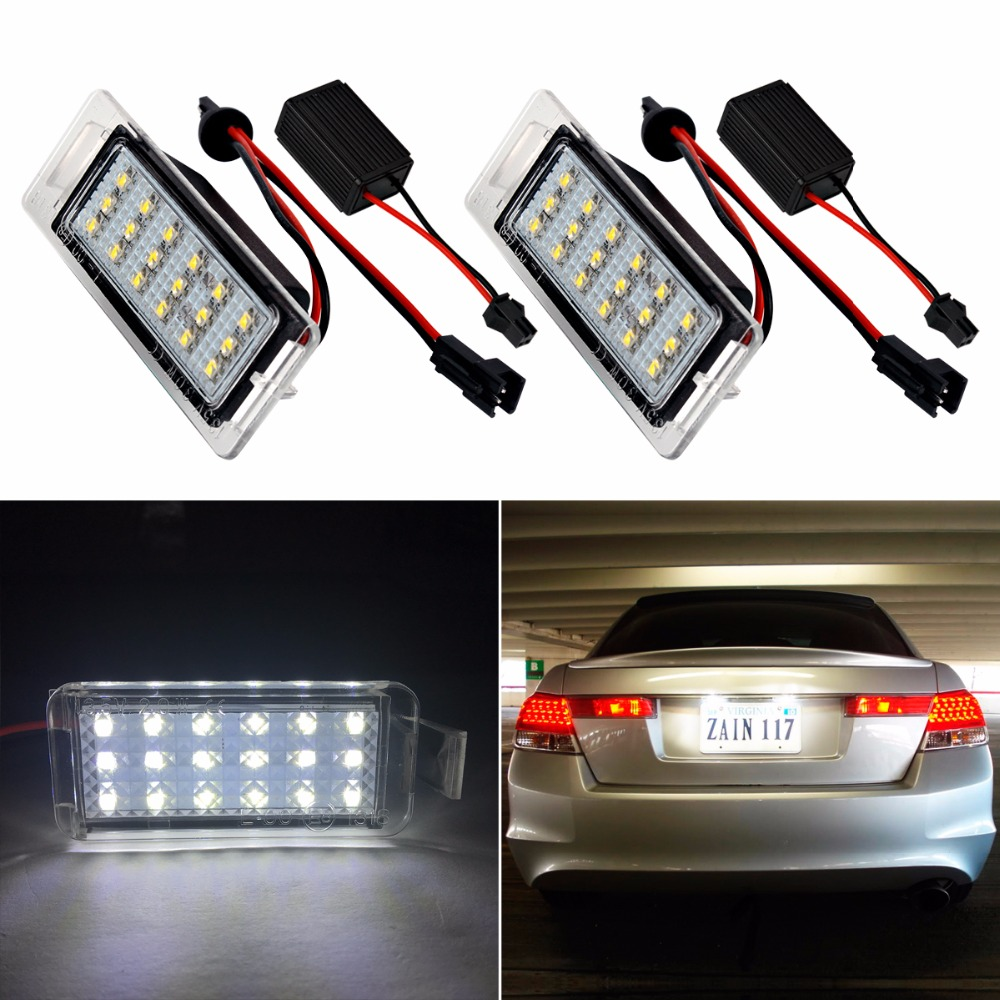 2Pcs Car LED Number License Plate Lights Lamp Frame 12V White SMD LED Bulb Kit for Chevrolet Cruze Camaro 2010-2014 Accessories car led license plate lights 12v for ford mondeo mk2 fiesta fusion accessories no error white smd led number plate lamp bulb kit