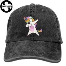 1db66fe7b8d SAMCUSTOM dab unicorn 3D Creative personality Washed Denim Hats Autumn  Summer Men Women Golf Sunblock Hockey