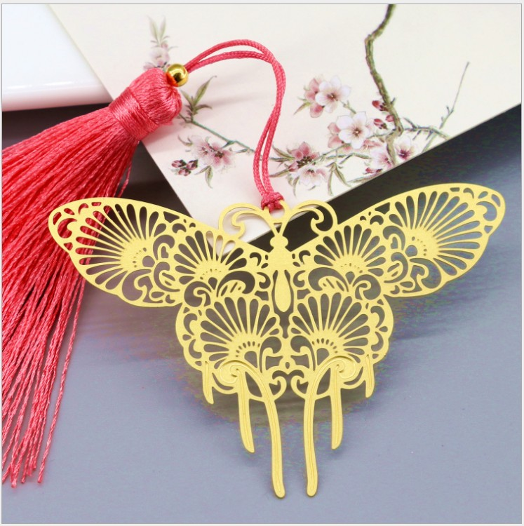 Free shipping 100PCS wedding favor Metal Bookmark baby birthday gifts 15 styles brass flower peacock tassel
