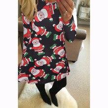 boho women dress womens clothing new fashion  long sleeve ladies female Santa Claus printed Christmas dresses