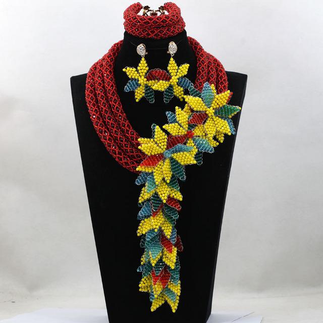 Reciente Dubai Oro Joyería Nupcial Perlas Africanas Set Costume 3 capas de La Flor de La Joyería Para Las Mujeres Envío Gratis ALJ780