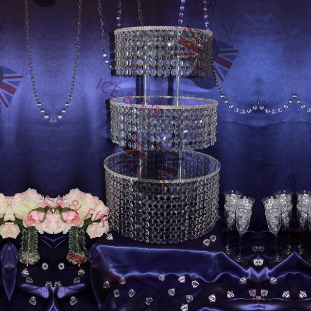 3tierlot crystal chandelier wedding cake stand acrylic crystals and 3tierlot crystal chandelier wedding cake stand acrylic crystals and tear drop pendants pastry plate mozeypictures Image collections
