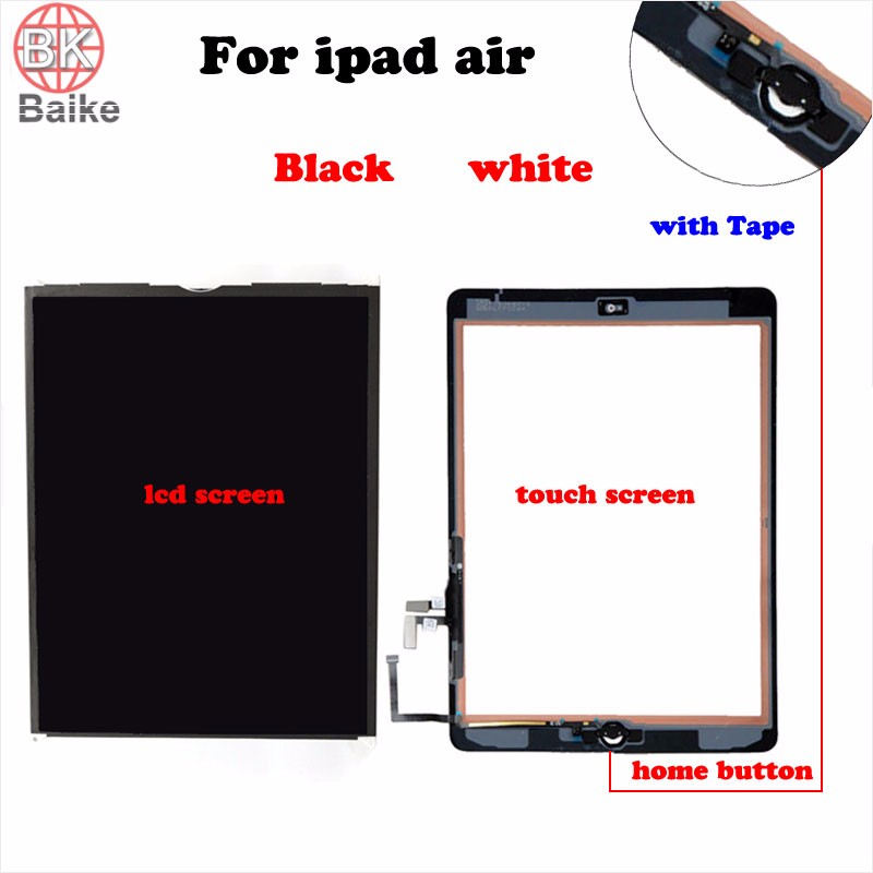 ФОТО 9.7 Inch For Apple Ipad Air lcd screen display + Digitizer Touch Screen with Home Button assembly For Ipad 5 Black white