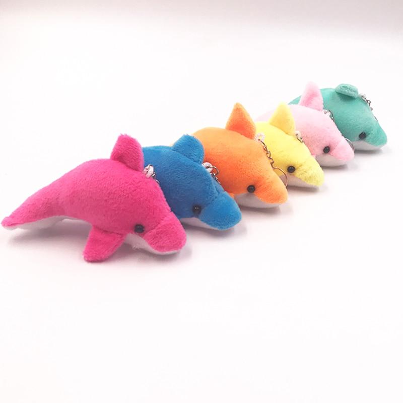 1 PCS 11 Cm Soft  Mini Cute Cartoon DIY Dolphin Stuffed Animal Keychain Plush Doll Toy Gift For Child Adult  DDW10