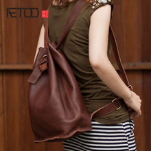 AETOO Genuine leather bag handmade new European and American leather shoulder bag shoulder diagonal cross-hand pumping