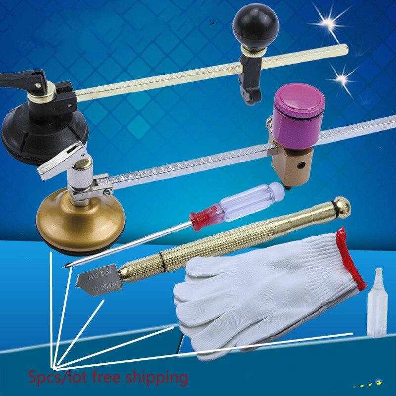 ФОТО 5pcs pcs/set 40cm glass compasses knife Smoke lampblack machine core glass cutting knife Glass round tool