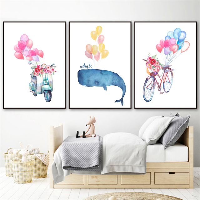 Nordic Style Kids Decoration Wall Pictures For Living Room Bike Flowers Balloons Art Baby Decor Posters And Prints