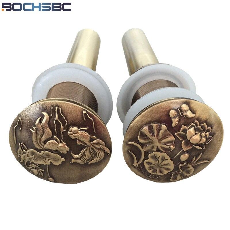 Brass Copper Push Down Pop Up Drain Bathroom Basin Vessel Sink Drain  Strainer Without Overflow
