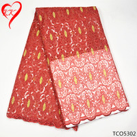 KK Red sequins African double organza lace fabric high quality Nigerian lace fabrics for wedding dresses 5 yards cloth TCO53