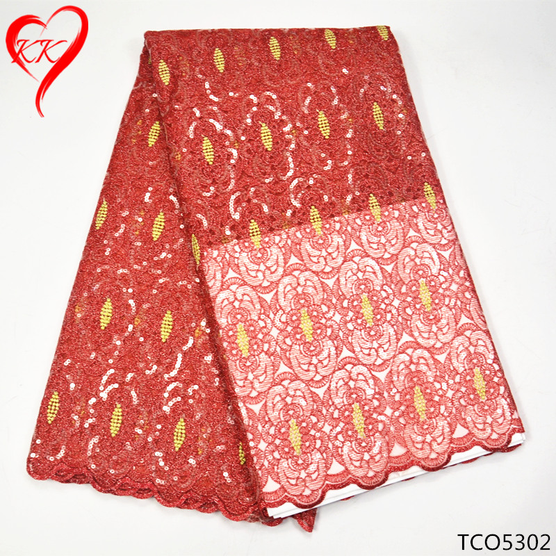 ₪Kk rojo lentejuelas africano doble organza encaje de tela de alta ...