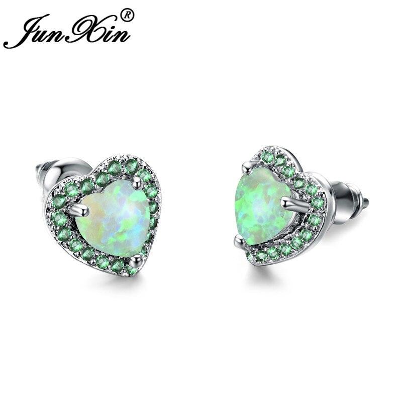 JUNXIN Full Stone Rainbow Fire Opal Heart Stud Earrings For Women Silver Color Green Zircon Birthstone Earrings