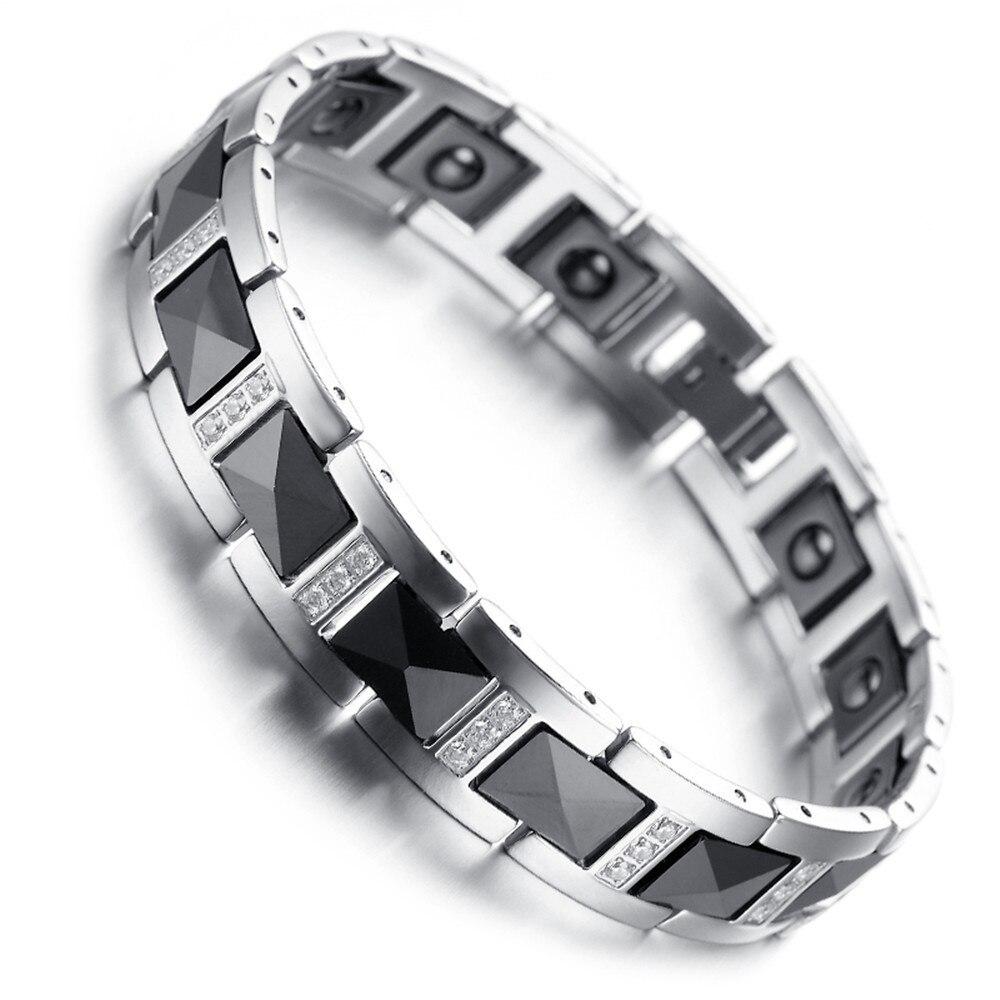 beliebt kaufen Größe 40 billiger Verkauf Herren Wolfram Armband, Black & Silver, kristall Magnetische ...