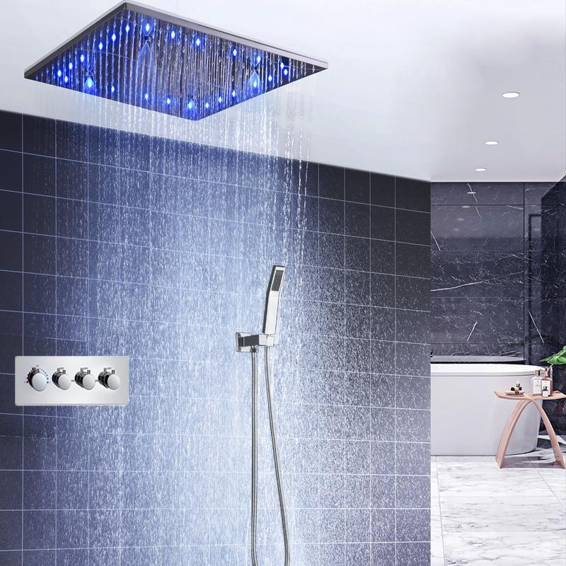 Teto de luxo Chuveiro LEVOU Torneiras de 20 polegada Quadrada Chuva E Neblina Spa Chuveiros Overhead Painel 3 Way Misturador Termostático Set para banho