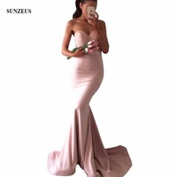Mermaid Sweetheart Long Pink Bridesmaid Dresses Real Photos Beaded Lace Bodice Women Wedding Party Dress BDS038