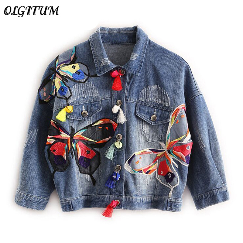2017 OLGITUM Colorful Butterfly Embroidery Ladies Jean <font><b>Jackets</b></font> Patch Designs Womens Denim Coats with Tassel frayed Slim <font><b>Jacket</b></font>