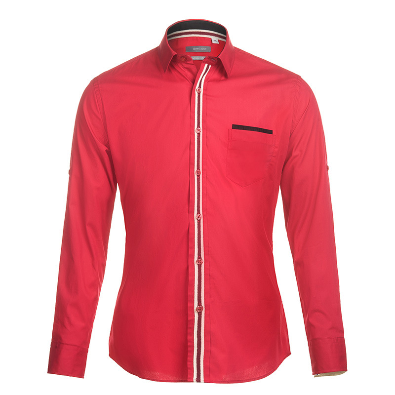 Brand Striped Red Shirt Men 2017 Spring Fashion Mens Shirts Long Sleeve 100% Cotton Chemise Homme Camisas Casual Slim Fit Shirt