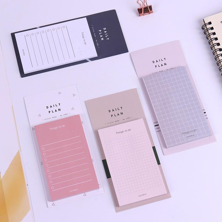 1PC Creative Study&Work Plan Kraft Paper Sticky Notes Post Memo Pad Kawaii Stationery Office School Supplies Memo Pads