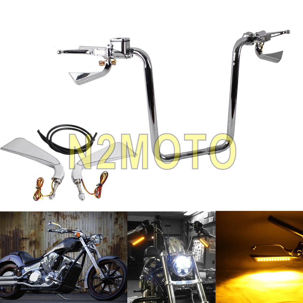 Chrome Motorcycle 12 Pcs Axe Sequential LED Mirror Rear View Mirrors w Turn Signal Light for