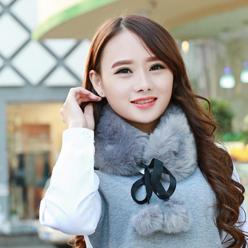 Womens Ladies Faux Fur Scarf Collar Winter Warm Fluffy Furry Shawl Wrap Scarf