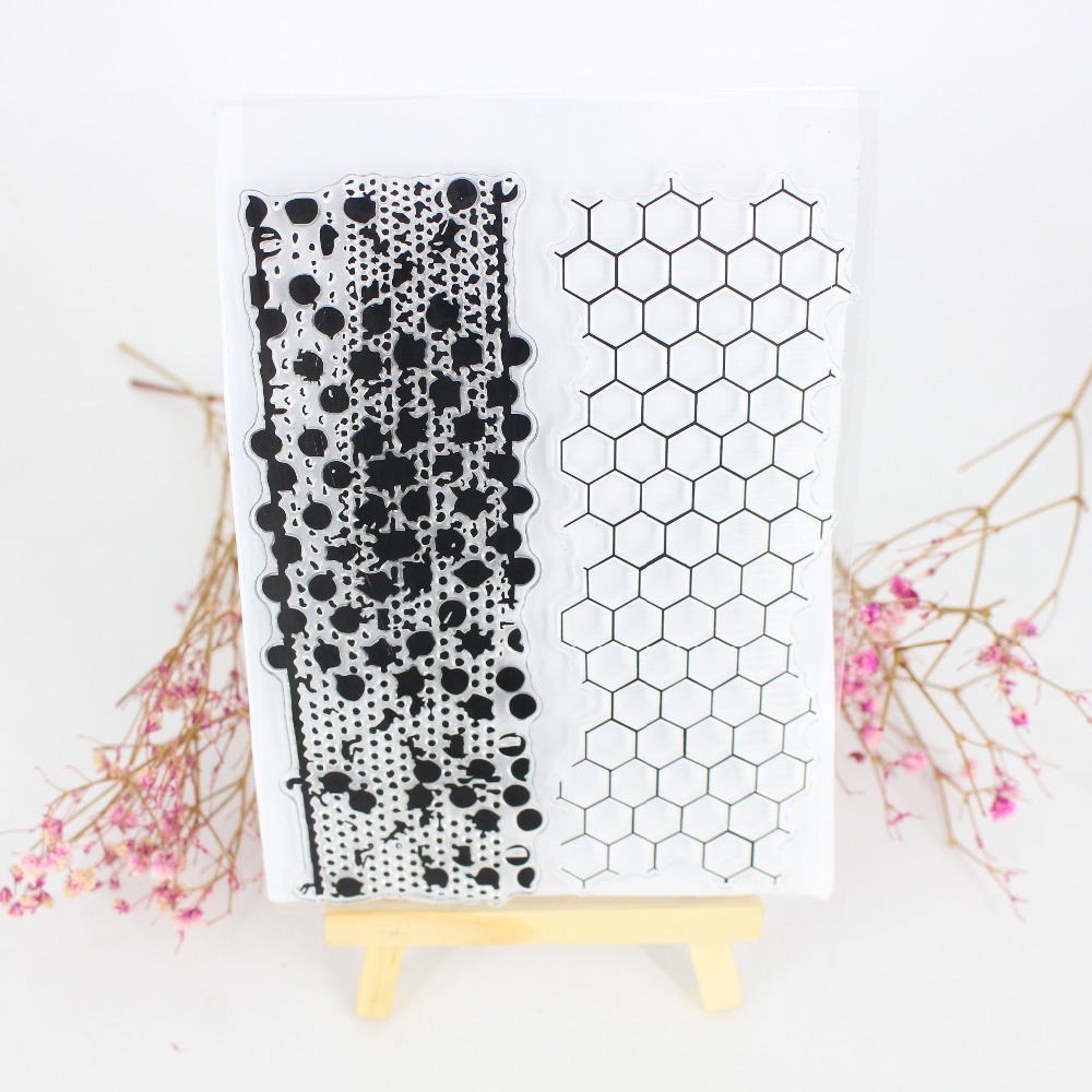 Honeycomb Frame Craft Stamp Dies Decor DIY Scrapbook Photo Album Cards Creative Transparent Clear Silicone Stadard Stamps