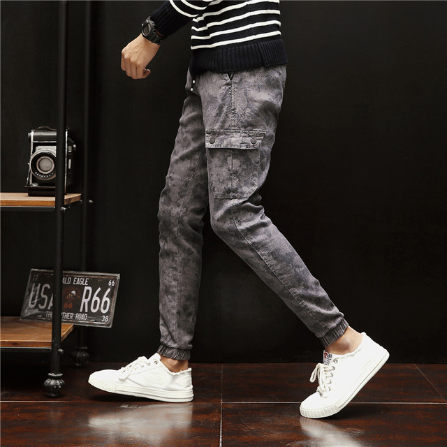 78294b06fa7d Camouflage DrawString Pockets Beam Feet Casual Pants Slim Personality  Fashion Classic Youth Pop Tide Men s Overalls Punk Style