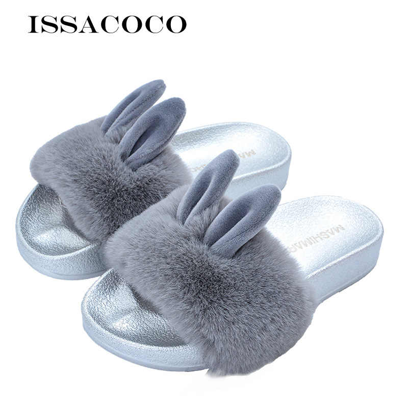 ISSACOCO Women Flat Solid Furry Slippers Real Rabbit Fur Slippers Non-slip Plush Fashion Slippers Fluffy Flock Indoor Slippers