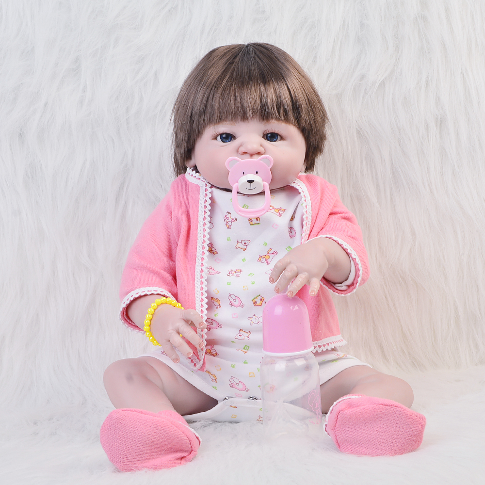 Fashion Reborn Baby Doll  23 Full Silicone Vinyl Body Lifelike Babies Toys Newborn Dolls For Girl Gifts Cute Baby Playmates christmas gifts in europe and america early education full body silicone doll reborn babies brinquedo lifelike rb16 11h10