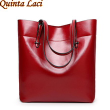 Quinta Laci High Quality Leather Women Bag Bucket Shoulder Bags Solid Big Handbag Large Capacity Top-handle Bags New Arrivals