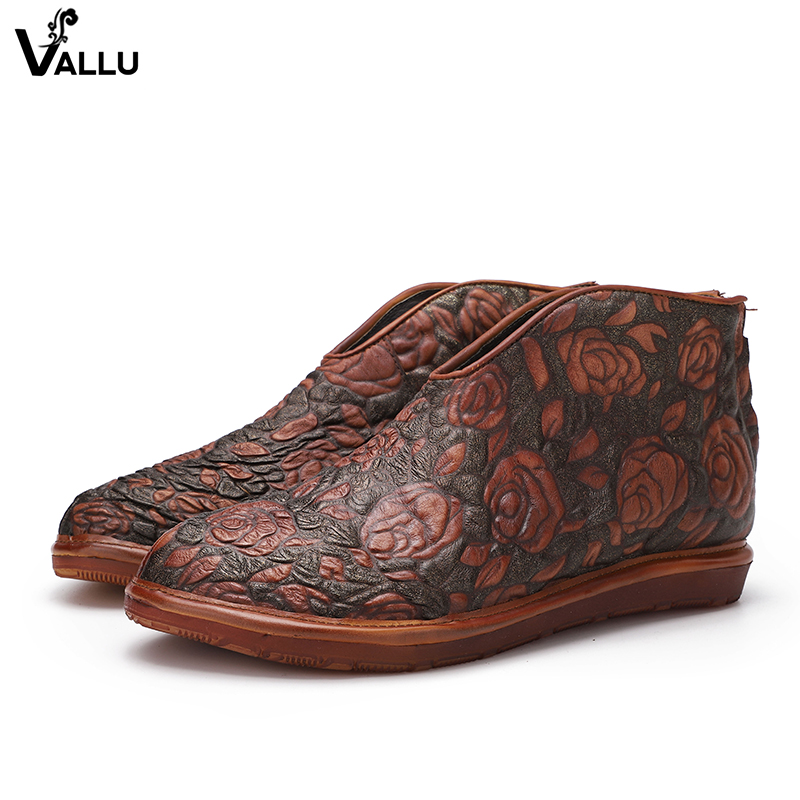 Natural Leather Women' s Floral Boots Elegant Handmade Embossed Back Zipper Lady Ankle Boots Female Flat Rose Shoes inc new black women s size 8 sheer floral lace back zipper crewneck blouse $69