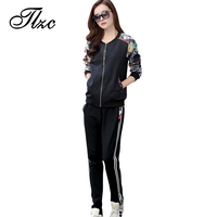 New Coming Lady Clothing Set Hoodies Sweatpants Women Casual Suit Large Size L 4XL Floral Pattern