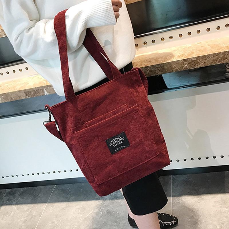 Women Corduroy Shopping Bags Reusable Tote Ladies Casual Shoulder Bag Foldable Beach Shopping Bag Cotton Cloth Female Handbag