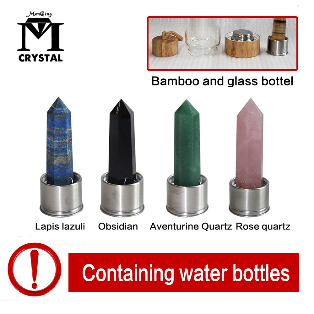 Drop Shipping Natural Elixir Quartz Crystal obelisk Bamboo <font><b>Drink</b></font> Water Bottle Point reiki Healing Wand Glass Gravel Stone Cup image