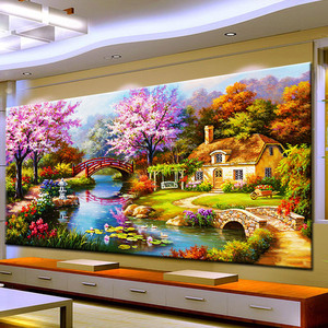 Image 2 - 2020 new design DIY garden house cross stitch kits 100% Accurate printed Embroidery Cross  landscape Needlework  Wall Decor