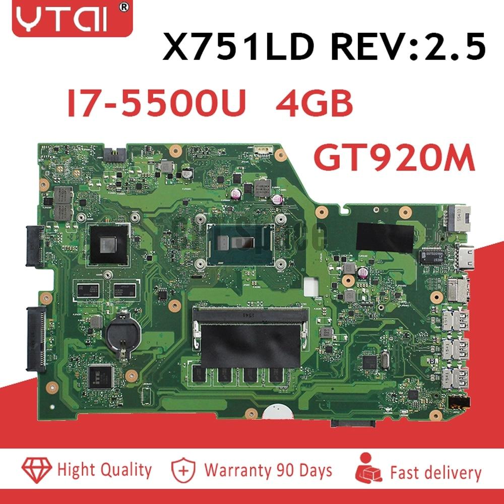 REV 2.5 I7-5500U Pour ASUS X751L K751L K751LN X751LK X751LD F751LD REV 2.5 I7-5500U mère d'ordinateur portable DDR3 HM86 100% testé