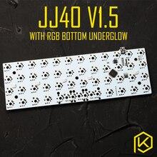 Jj40 v1.5 механическая клавиатура на заказ, 40% печатная плата, программируемая 40 планок, макеты bface, прошивка gh40 jd40 с rgb нижней подсветкой