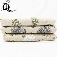 Livraison gratuite 50*150 cm mélange vert feuille coton lin tissu, Patchwork tissu bricolage couture Quilting gros quartiers matériel pour bébé C9