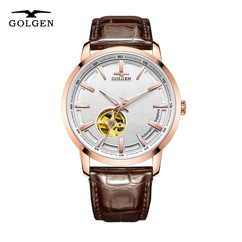 GOLGEN Fashion Mens Watches Top Brand Luxury Automatic Leather Skeleton Mechanical WristwatchesGOLGEN Fashion Mens Watches Top Brand Luxury Automatic Leather Skeleton Mechanical Wristwatches