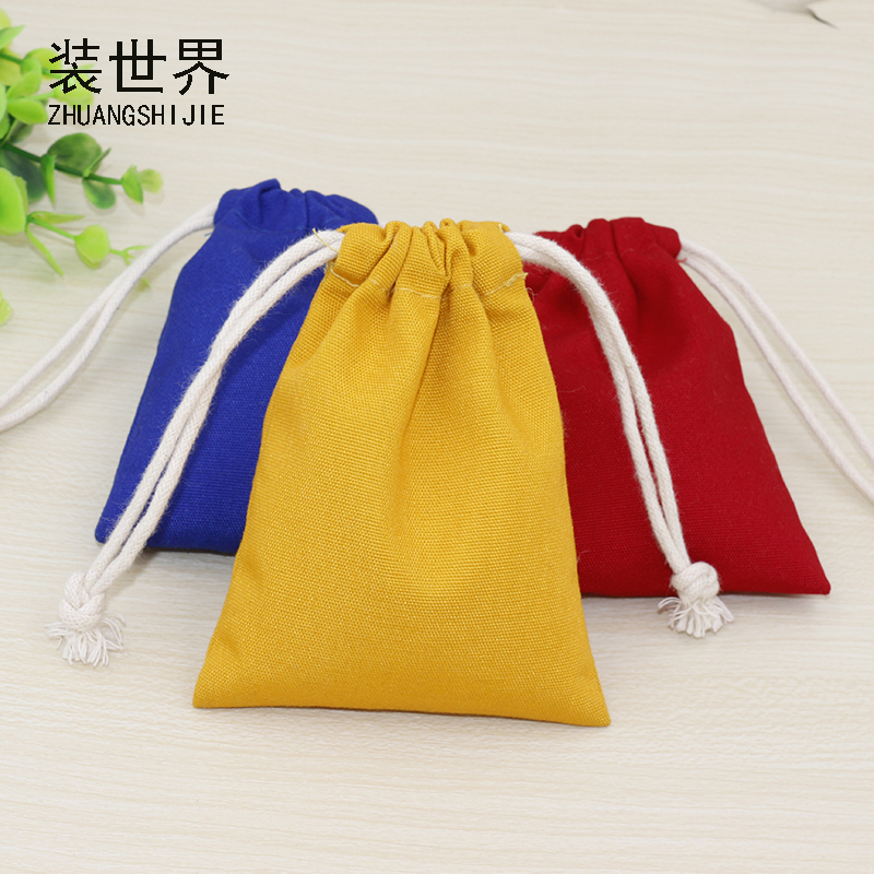 12.5cm*17cm Custom Logo Print  Cotton Canvas Bag Pouch Wholesale Drawstring Bags Underwear Jewelry Bags For Women